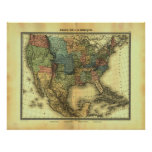 Mapa 1848 de Thunot Duvotenay:  Etats-Unis y Mexiq Posters