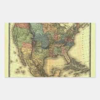 Mapa 1848 de Thunot Duvotenay:  Etats-Unis y Pegatina Rectangular