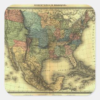 Mapa 1848 de Thunot Duvotenay:  Etats-Unis y Pegatina Cuadrada