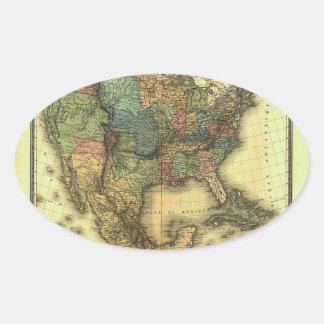 Mapa 1848 de Thunot Duvotenay:  Etats-Unis y Pegatina Ovalada
