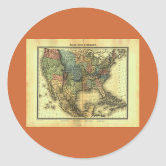 Mapa 1848 de Thunot Duvotenay:  Etats-Unis y Pegatina Redonda