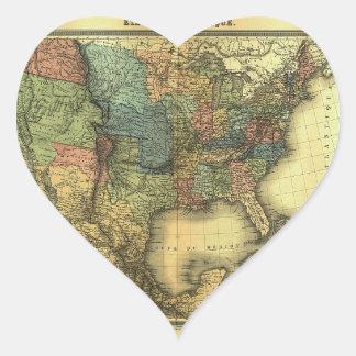 Mapa 1848 de Thunot Duvotenay:  Etats-Unis y Pegatina En Forma De Corazón