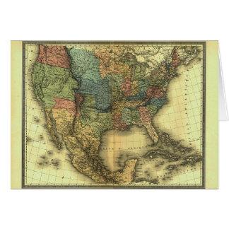 Mapa 1848 de Thunot Duvotenay:  Etats-Unis y Tarjeta De Felicitación