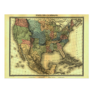 Mapa 1848 de Thunot Duvotenay:  Etats-Unis y Postal