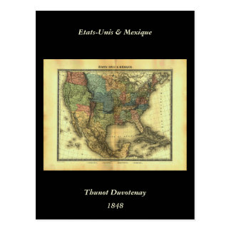 Mapa 1848 de Thunot Duvotenay:  Etats-Unis y Tarjeta Postal