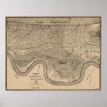 Mapa 1849 de New Orleans Póster