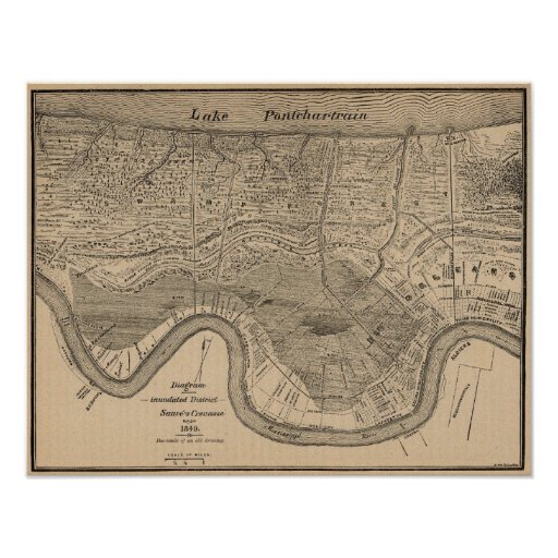 Mapa 1849 de New Orleans Poster
