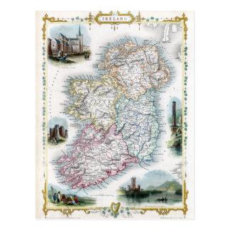 Mapa 1851 de Irlanda Postal