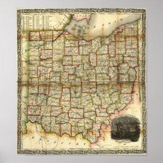 Mapa 1851 de Ohio del vintage Póster