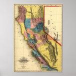 Mapa 1851 del estado de la región del oro de Calif Posters