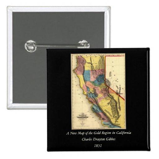 Mapa 1851 del estado de la región del oro de Calif Pin Cuadrada 5 Cm