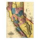 Mapa 1851 del estado de la región del oro de Calif Postales