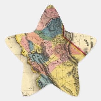 Mapa 1851 del estado de la región del oro de pegatina en forma de estrella