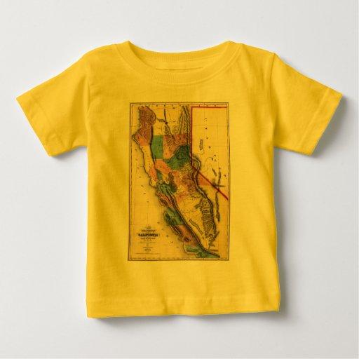 Mapa 1851 del estado de la región del oro de playera de bebé
