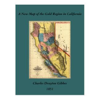 Mapa 1851 del estado de la región del oro de postales