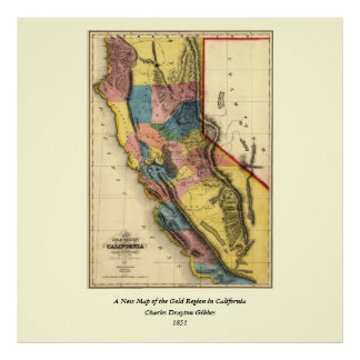 Mapa 1851 del estado de la región del oro de póster