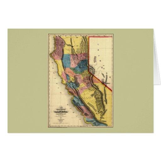 Mapa 1851 del estado de la región del oro de tarjeta de felicitación