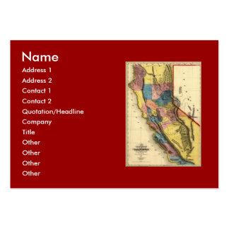 Mapa 1851 del estado de la región del oro de tarjetas de visita grandes