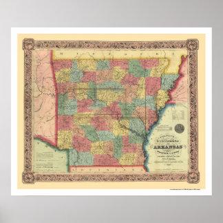 Mapa 1854 del ferrocarril de Arkansas Póster