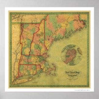 Mapa 1854 del ferrocarril de Boston del telégrafo Póster