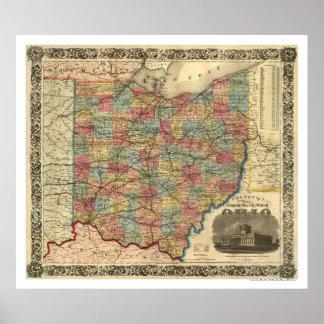 Mapa 1854 del ferrocarril de Ohio Póster