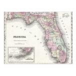 Mapa 1855 de Colton de la Florida Postal