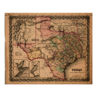 Mapa 1855 de Tejas Póster