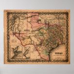 Mapa 1855 de Tejas Posters