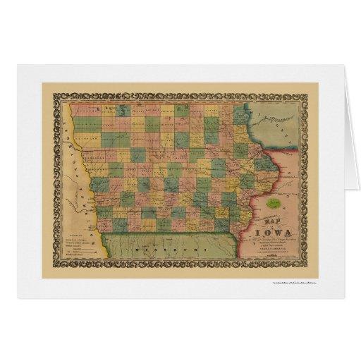 Mapa 1855 del tren de ferrocarril de Iowa Tarjetas