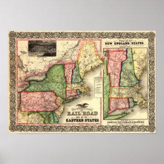 Mapa 1856 del carril de Nueva Inglaterra del vinta Póster