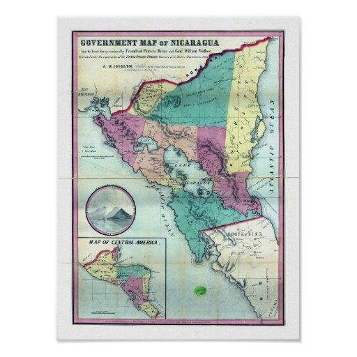 Mapa 1856 del gobierno de Nicaragua de A.H. Jocely Póster