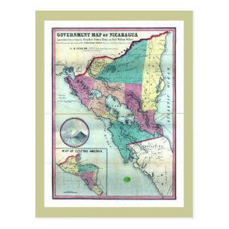 Mapa 1856 del gobierno de Nicaragua de A.H. Jocely Tarjeta Postal