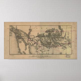 Mapa 1857 del territorio y de los carriles póster