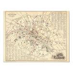 Mapa 1858: Dans París Francia del Omnibus del DES Invitación 10,8 X 13,9 Cm