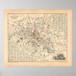 Mapa 1858: Dans París Francia del Omnibus del DES  Impresiones