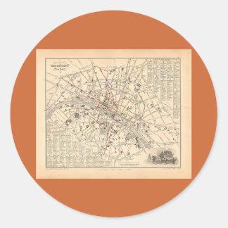 Mapa 1858: Dans París Francia del Omnibus del DES Pegatinas Redondas