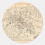 Mapa 1858: Dans París Francia del Omnibus del DES Etiquetas Redondas