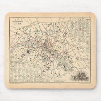 Mapa 1858: Dans París Francia del Omnibus del DES  Tapete De Ratón