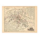 Mapa 1858: Dans París Francia del Omnibus del DES Postal