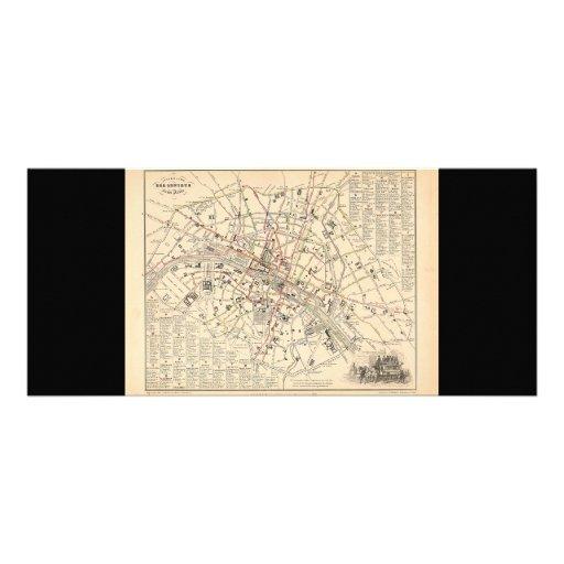 Mapa 1858: Dans París Francia del Omnibus del DES  Lona Publicitaria