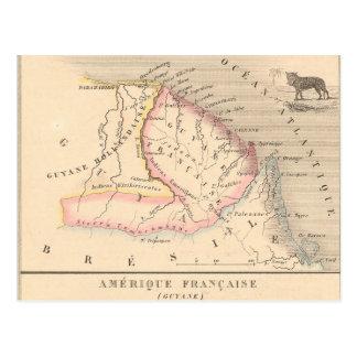 Mapa 1858 de Amerique Francaise (Guyane), Guyana Postal