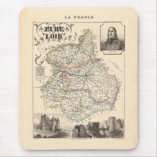 Mapa 1858 de Eure y del departamento de Loir, Alfombrilla De Ratones