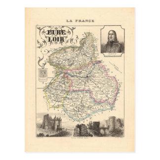 Mapa 1858 de Eure y del departamento de Loir, Postal