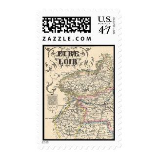 Mapa 1858 de Eure y del departamento de Loir, Timbres Postales