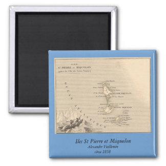 Mapa 1858 de Iles St Pierre y de Miquelon, Francia Imán Cuadrado