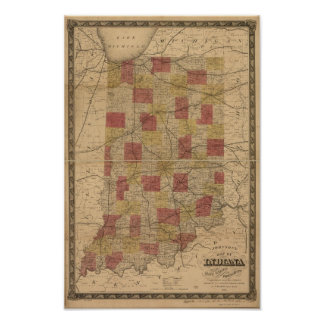 Mapa 1858 de Indiana que representa los carriles y Póster