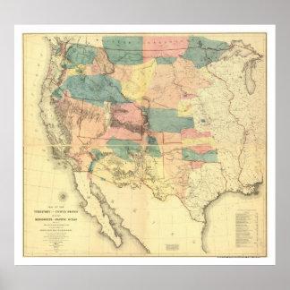Mapa 1858 de la encuesta sobre el ferrocarril de l impresiones