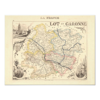 Mapa 1858 de la porción y del departamento de invitación