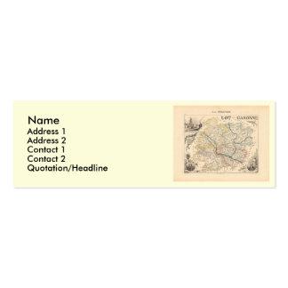 Mapa 1858 de la porción y del departamento de tarjetas de visita mini