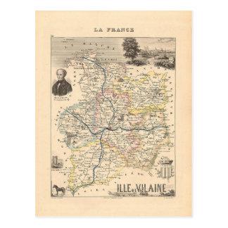 Mapa 1858 del departamento de Ille y de Vilaine, Postal